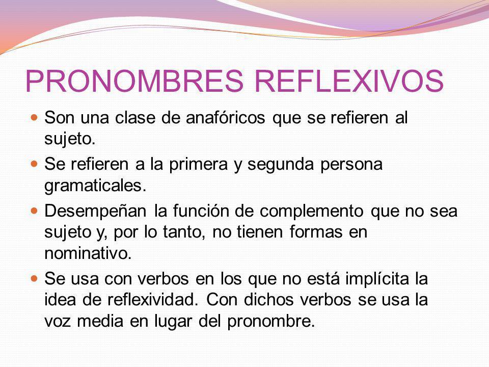 PRONOMBRES REFLEXIVOS Son una clase de anafóricos que se refieren al sujeto.