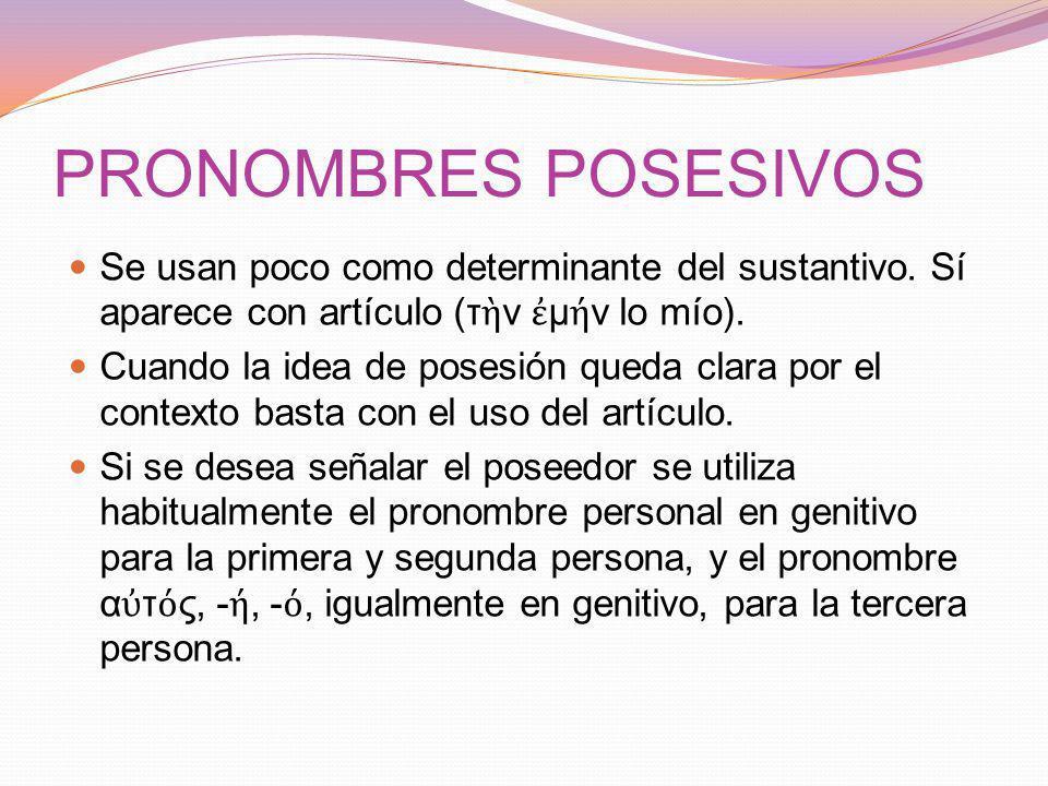 PRONOMBRES POSESIVOS Se usan poco como determinante del sustantivo.