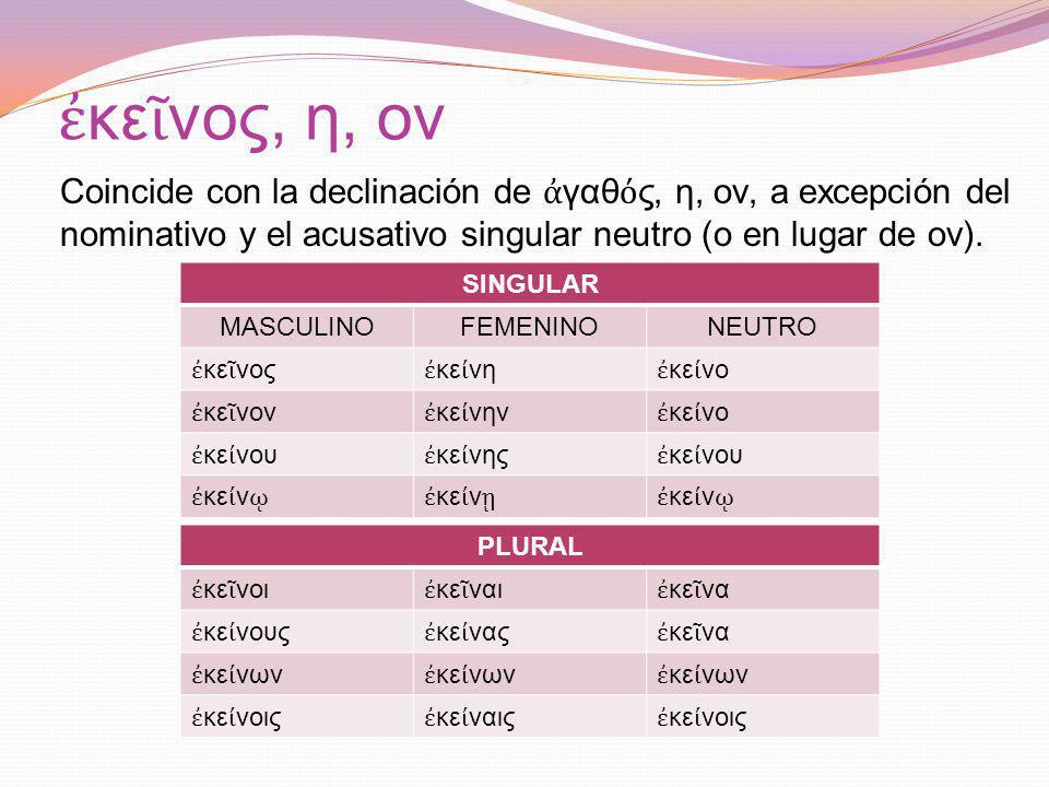 κε νος, η, ον Coincide con la declinación de γαθ ς, η, ον, a excepción del nominativo y el acusativo singular neutro (ο en lugar de ον).