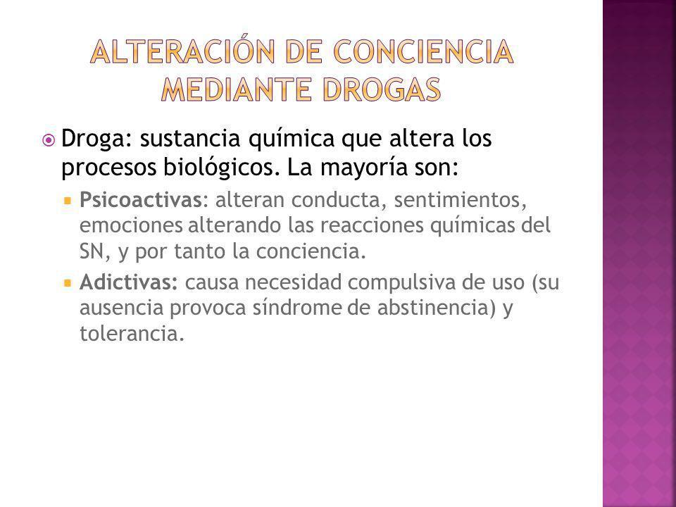 Droga: sustancia química que altera los procesos biológicos. La mayoría son: Psicoactivas: alteran conducta, sentimientos, emociones alterando las rea