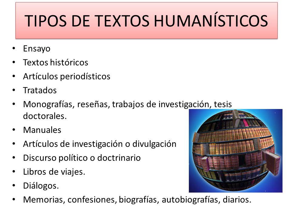TIPOS DE TEXTOS HUMANÍSTICOS Ensayo Textos históricos Artículos periodísticos Tratados Monografías, reseñas, trabajos de investigación, tesis doctoral
