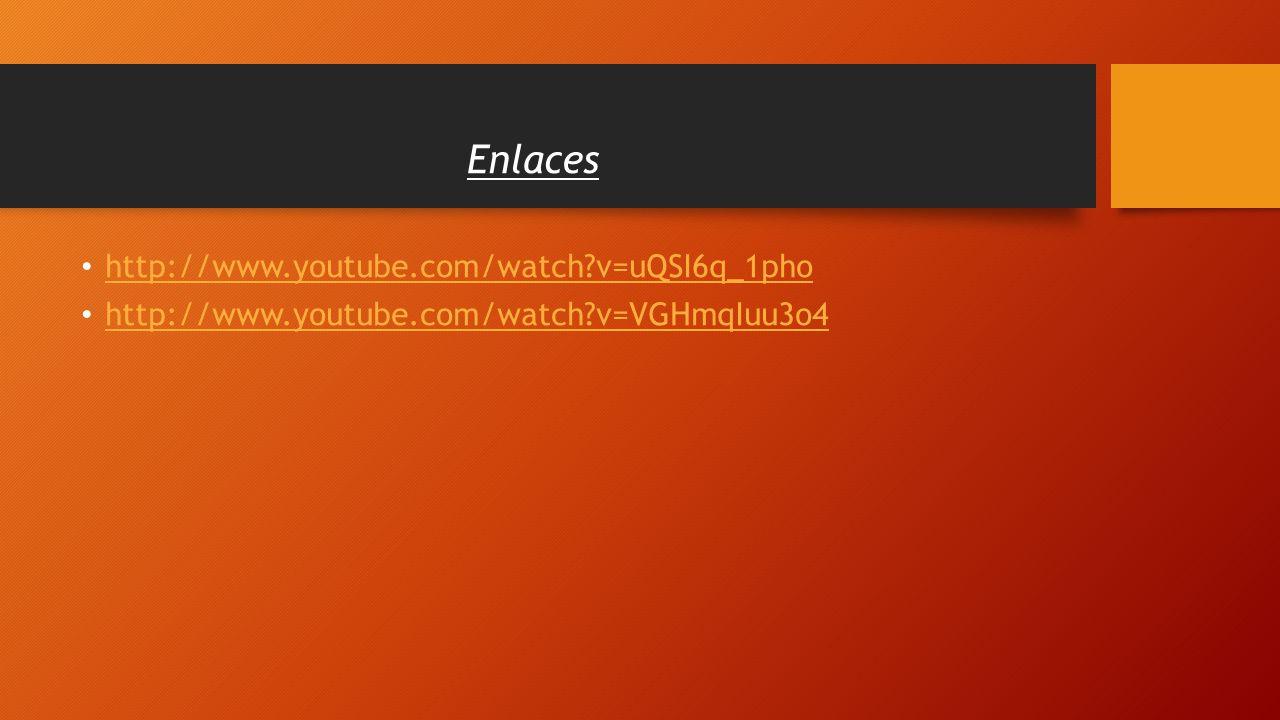 http://www.youtube.com/watch?v=uQSI6q_1pho http://www.youtube.com/watch?v=VGHmqIuu3o4 Enlaces