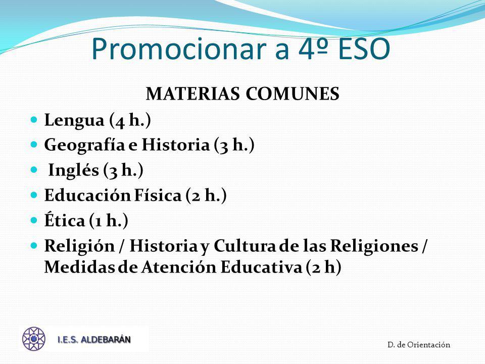 Promocionar a 4º ESO MATERIAS COMUNES Lengua (4 h.) Geografía e Historia (3 h.) Inglés (3 h.) Educación Física (2 h.) Ética (1 h.) Religión / Historia y Cultura de las Religiones / Medidas de Atención Educativa (2 h) D.