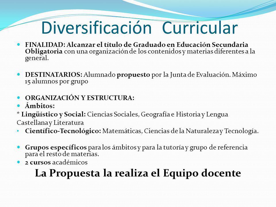 Diversificación Curricular FINALIDAD: Alcanzar el título de Graduado en Educación Secundaria Obligatoria con una organización de los contenidos y materias diferentes a la general.