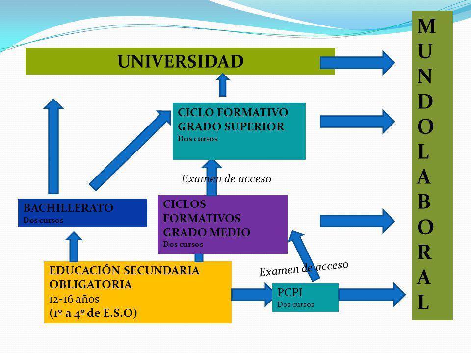 EDUCACIÓN SECUNDARIA OBLIGATORIA 12-16 años (1º a 4º de E.S.O) BACHILLERATO Dos cursos CICLOS FORMATIVOS GRADO MEDIO Dos cursos UNIVERSIDAD CICLO FORMATIVO GRADO SUPERIOR Dos cursos PCPI Dos cursos Examen de acceso MUNDOLABORALMUNDOLABORAL