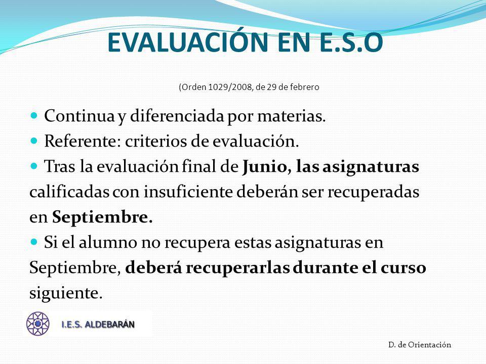 EVALUACIÓN EN E.S.O (Orden 1029/2008, de 29 de febrero Continua y diferenciada por materias.