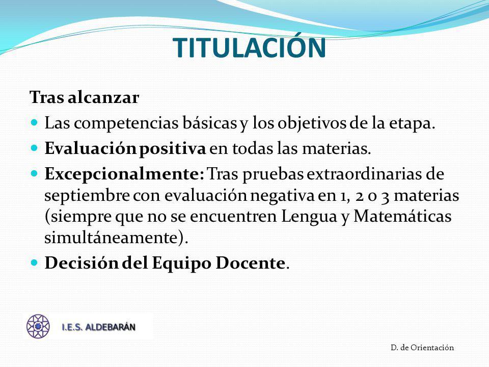 TITULACIÓN Tras alcanzar Las competencias básicas y los objetivos de la etapa.