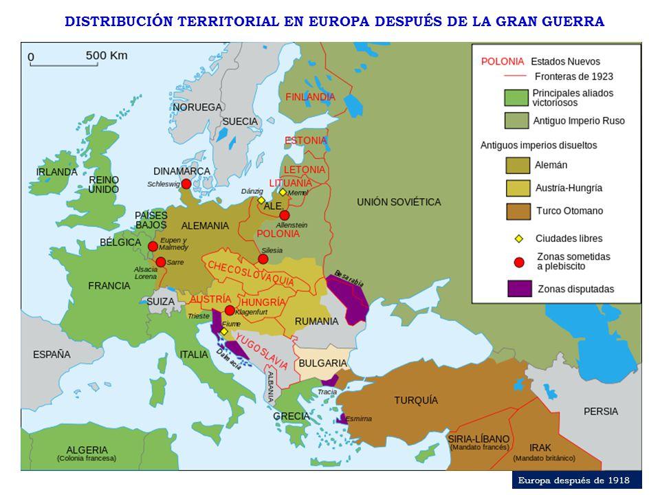 DISTRIBUCIÓN TERRITORIAL EN EUROPA DESPUÉS DE LA GRAN GUERRA Europa después de 1918