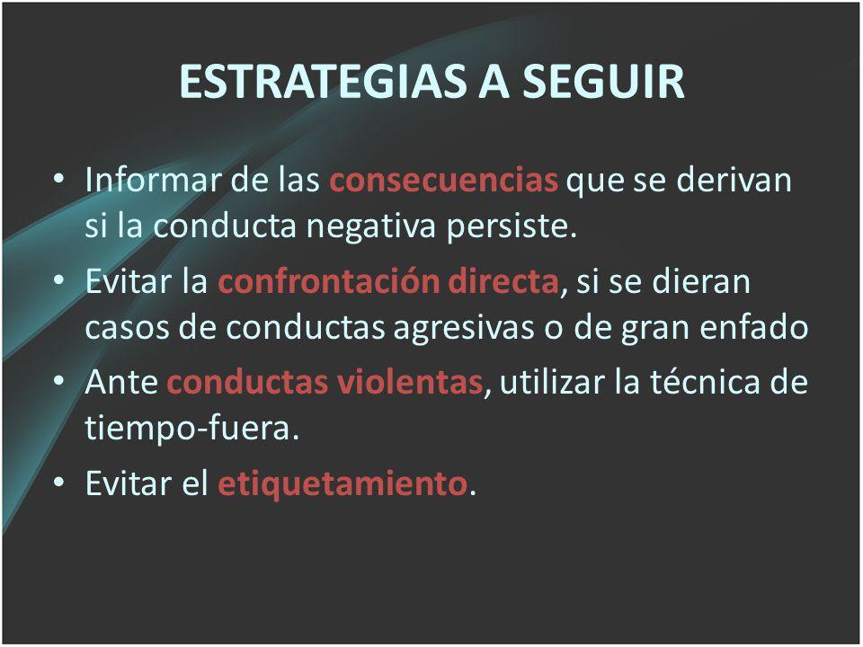 ESTRATEGIAS A SEGUIR Informar de las consecuencias que se derivan si la conducta negativa persiste. Evitar la confrontación directa, si se dieran caso