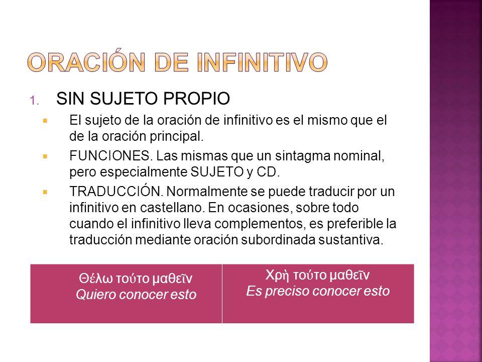 2.CON SUJETO PROPIO El sujeto del infinitivo va en acusativo.