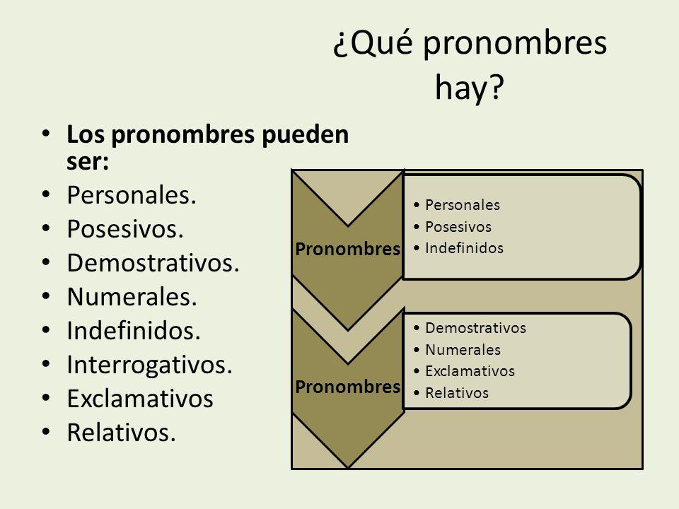 ¿Qué pronombres hay.Los pronombres pueden ser: Personales.