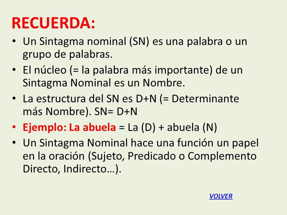 Un Sintagma nominal (SN) es una palabra o un grupo de palabras.