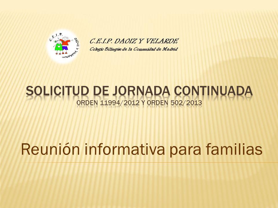 Reunión informativa para familias C.E.I.P. DAOIZ Y VELARDE Colegio Bilingüe de la Comunidad de Madrid