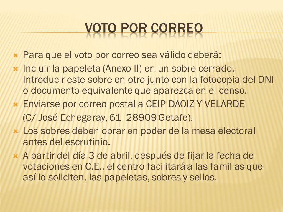 Para que el voto por correo sea válido deberá: Incluir la papeleta (Anexo II) en un sobre cerrado. Introducir este sobre en otro junto con la fotocopi