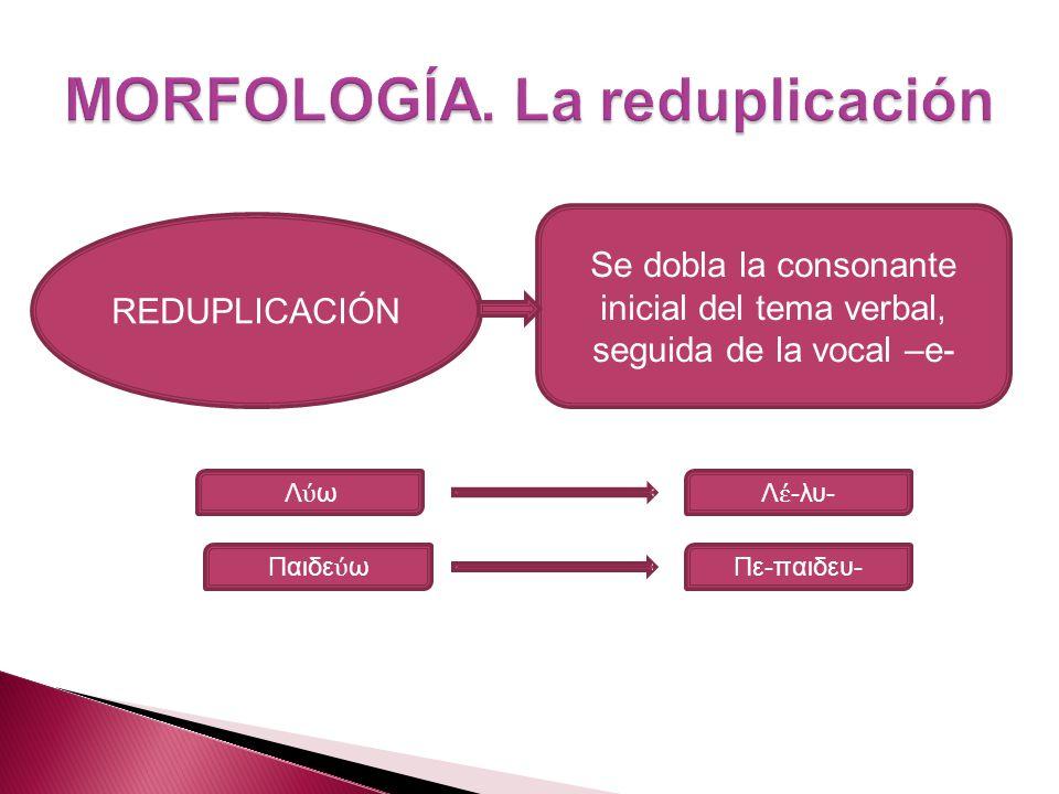 REDUPLICACIÓN Se dobla la consonante inicial del tema verbal, seguida de la vocal –e- Λ ωΛ -λυ- Παιδε ω Πε-παιδευ-
