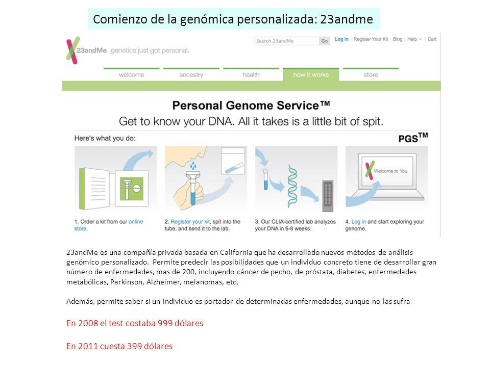 23andMe es una compañía privada basada en California que ha desarrollado nuevos métodos de análisis genómico personalizado. Permite predecir las posib