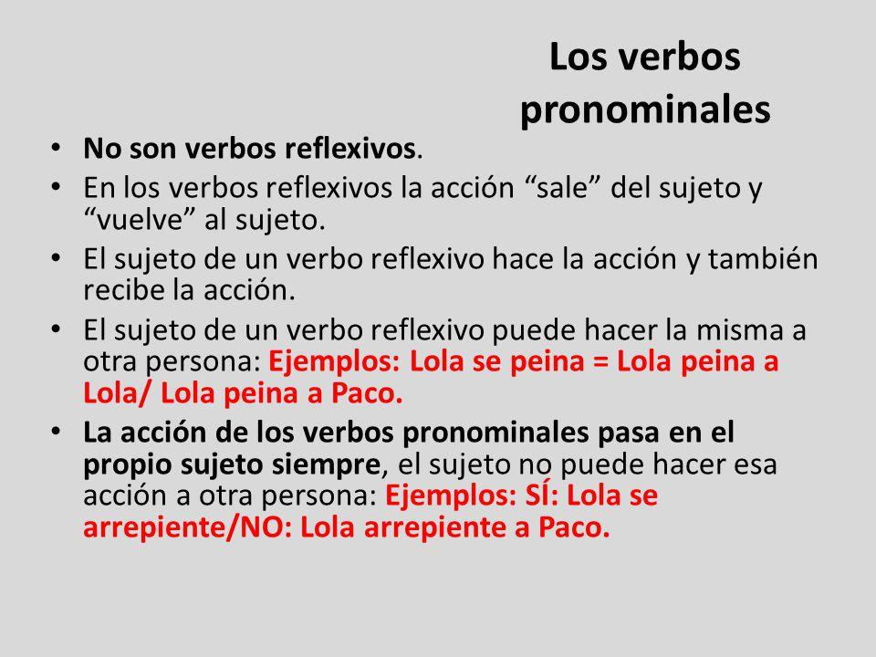 Los verbos pronominales No son verbos reflexivos. En los verbos reflexivos la acción sale del sujeto y vuelve al sujeto. El sujeto de un verbo reflexi