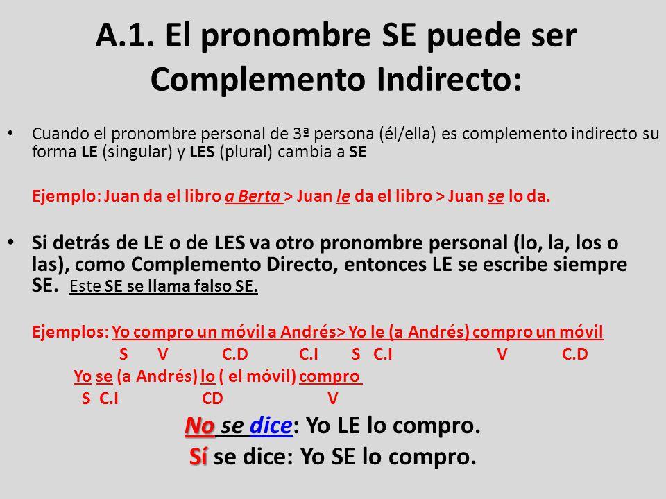 NO OLVIDES: Si detrás de LE o de LES (Complemento Indirecto) va otro pronombre personal (lo, la, los o las), como Complemento Directo, entonces LE se escribe siempre SE.