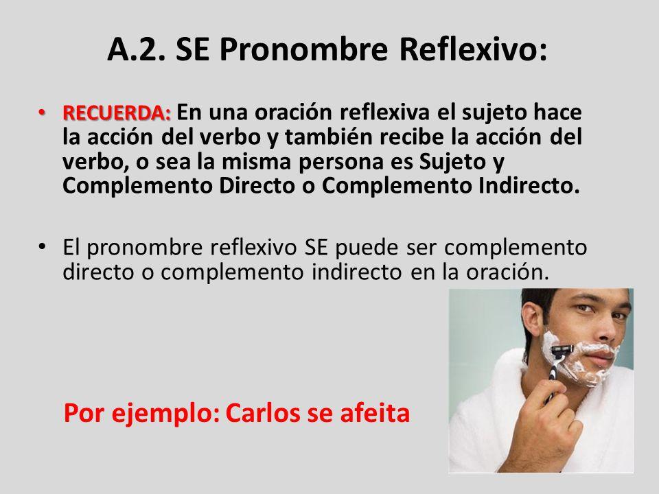 A.2. SE Pronombre Reflexivo: RECUERDA: RECUERDA: En una oración reflexiva el sujeto hace la acción del verbo y también recibe la acción del verbo, o s