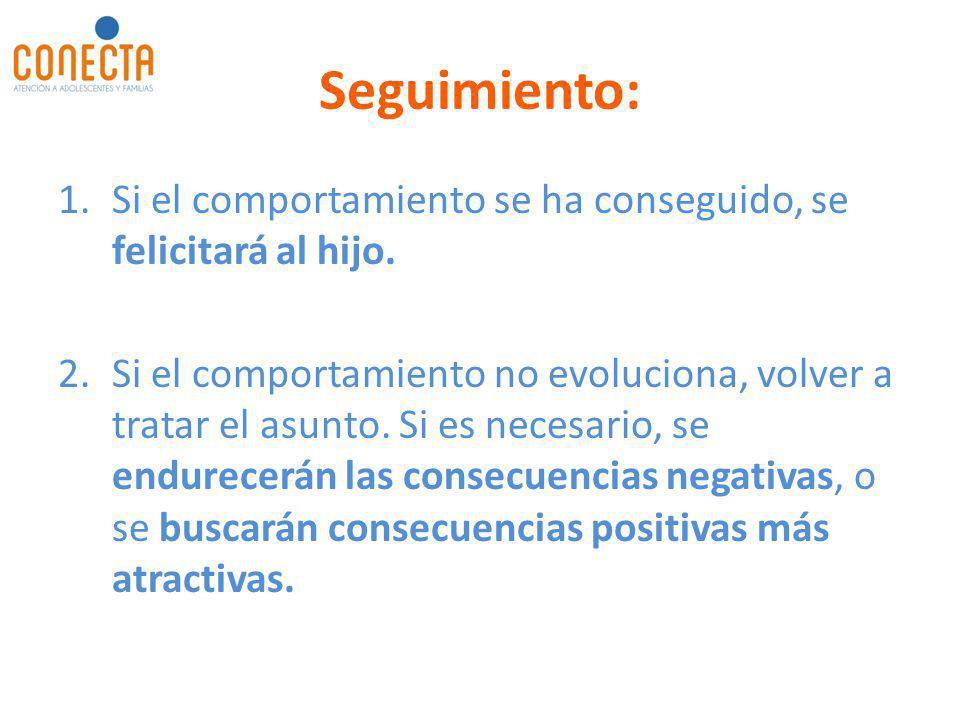Seguimiento: 1.Si el comportamiento se ha conseguido, se felicitará al hijo. 2.Si el comportamiento no evoluciona, volver a tratar el asunto. Si es ne