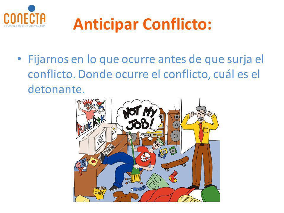 Anticipar Conflicto: Fijarnos en lo que ocurre antes de que surja el conflicto. Donde ocurre el conflicto, cuál es el detonante.
