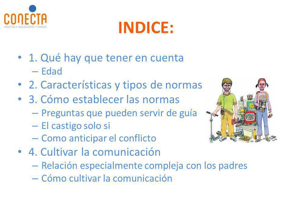 INDICE: 1. Qué hay que tener en cuenta – Edad 2. Características y tipos de normas 3. Cómo establecer las normas – Preguntas que pueden servir de guía