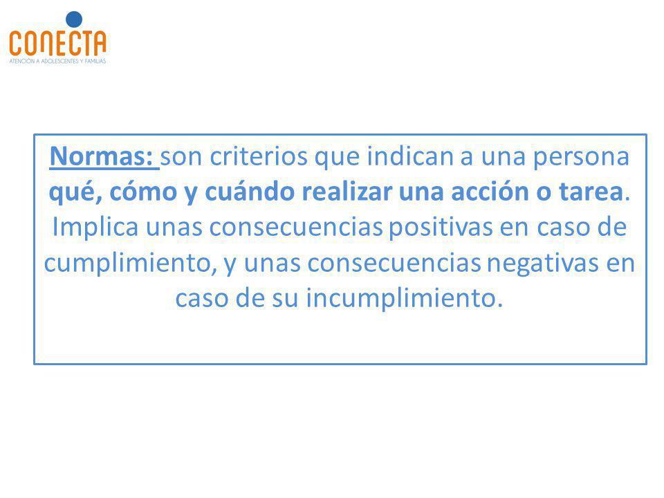 Normas: son criterios que indican a una persona qué, cómo y cuándo realizar una acción o tarea. Implica unas consecuencias positivas en caso de cumpli