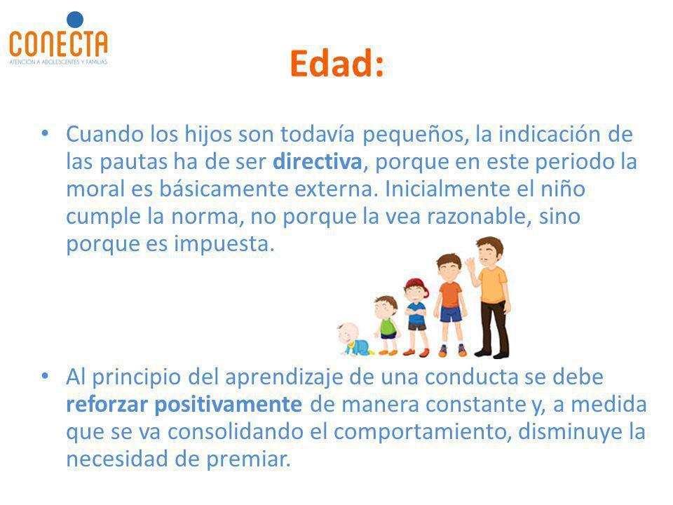 Edad: Cuando los hijos son todavía pequeños, la indicación de las pautas ha de ser directiva, porque en este periodo la moral es básicamente externa.
