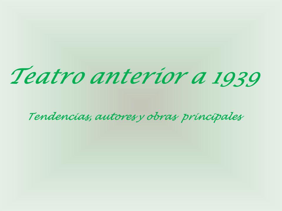 Teatro anterior a 1939 Tendencias, autores y obras principales