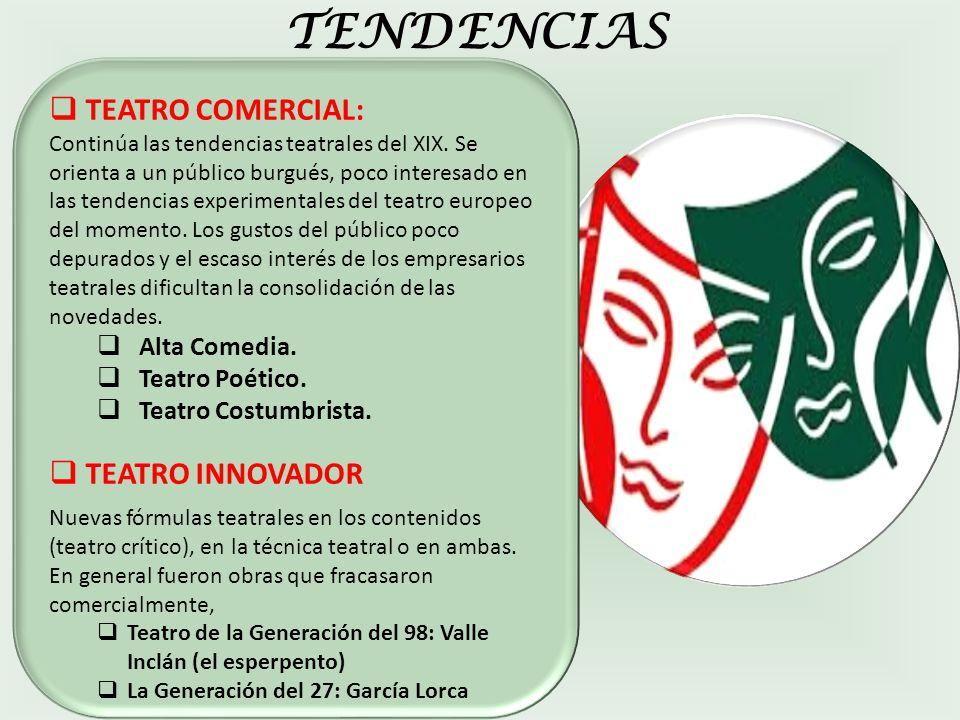 TENDENCIAS TEATRO COMERCIAL: Continúa las tendencias teatrales del XIX.