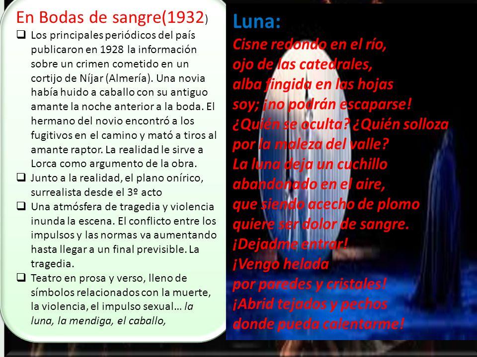 En Bodas de sangre(1932 ) Los principales periódicos del país publicaron en 1928 la información sobre un crimen cometido en un cortijo de Níjar (Almería).