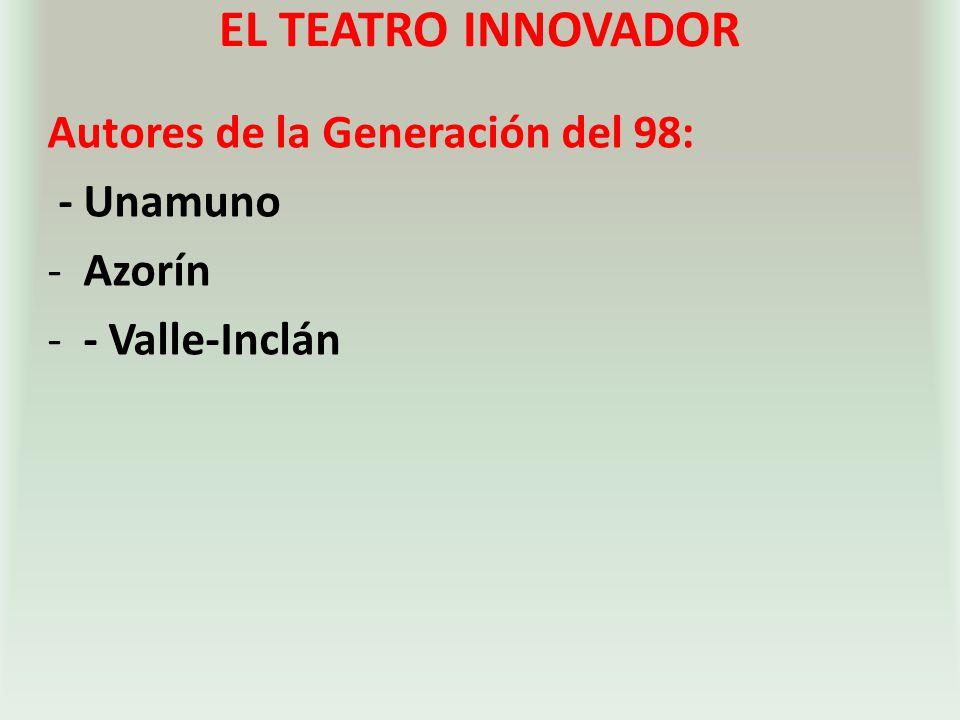 EL TEATRO INNOVADOR Autores de la Generación del 98: - Unamuno -Azorín -- Valle-Inclán