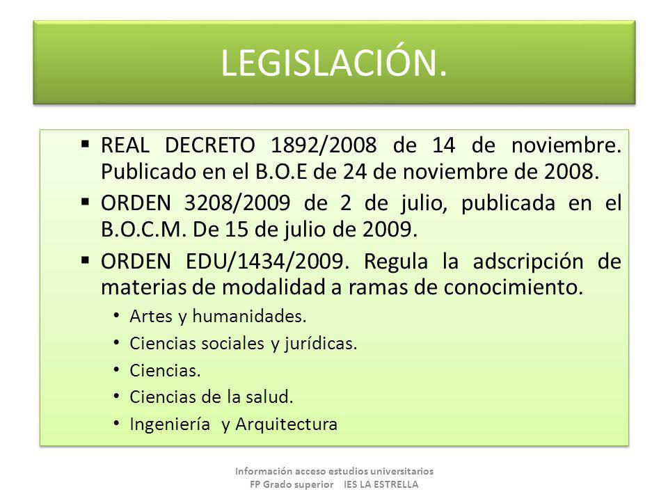 LEGISLACIÓN. REAL DECRETO 1892/2008 de 14 de noviembre. Publicado en el B.O.E de 24 de noviembre de 2008. ORDEN 3208/2009 de 2 de julio, publicada en