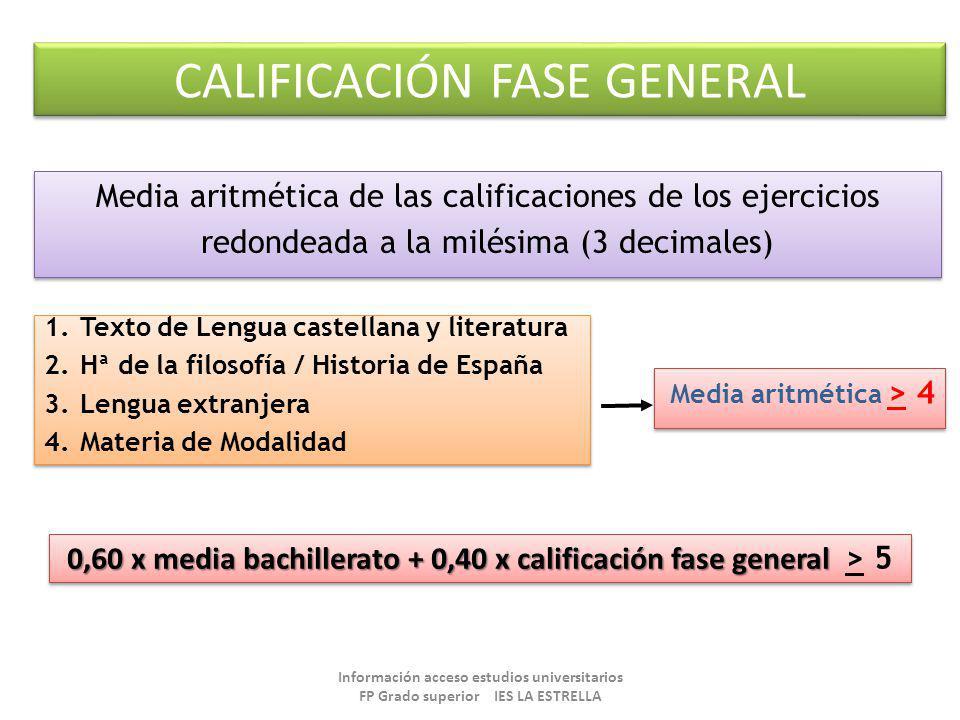 CALIFICACIÓN FASE GENERAL Media aritmética de las calificaciones de los ejercicios redondeada a la milésima (3 decimales) Media aritmética de las cali