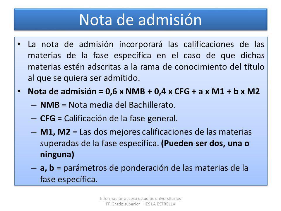 Nota de admisión La nota de admisión incorporará las calificaciones de las materias de la fase específica en el caso de que dichas materias estén adsc