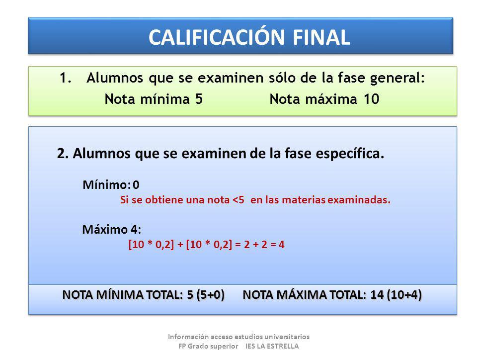 CALIFICACIÓN FINAL 1.Alumnos que se examinen sólo de la fase general: Nota mínima 5 Nota máxima 10 1.Alumnos que se examinen sólo de la fase general: