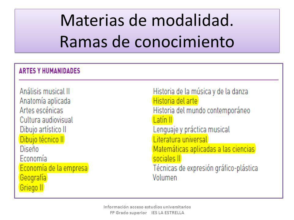 Materias de modalidad. Ramas de conocimiento Información acceso estudios universitarios FP Grado superior IES LA ESTRELLA