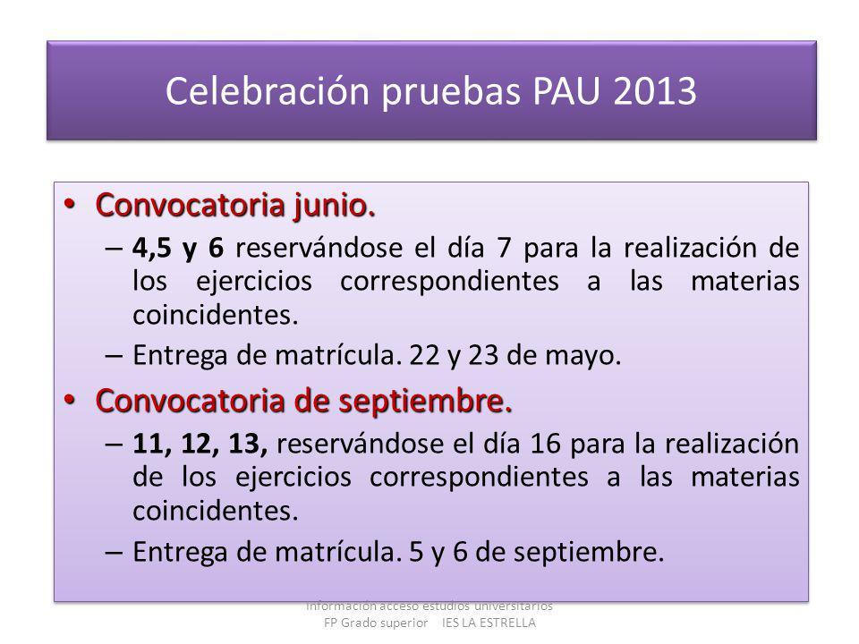 Celebración pruebas PAU 2013 Convocatoria junio. Convocatoria junio. – 4,5 y 6 reservándose el día 7 para la realización de los ejercicios correspondi