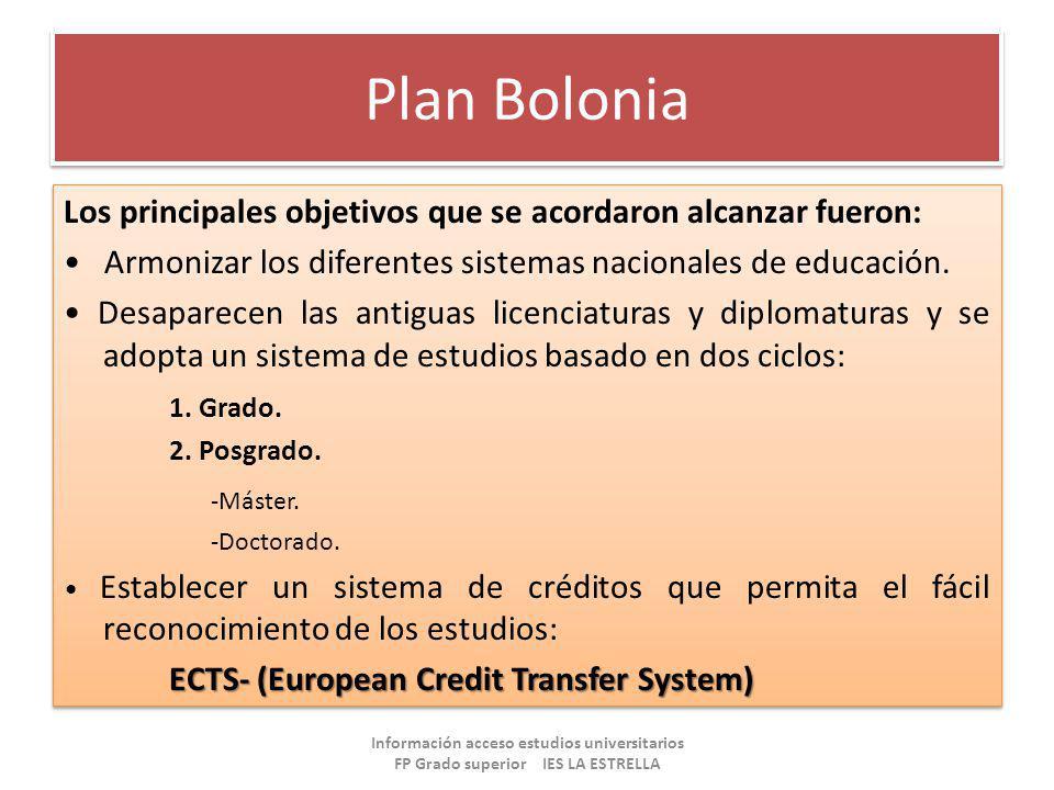 Plan Bolonia Los principales objetivos que se acordaron alcanzar fueron: Armonizar los diferentes sistemas nacionales de educación. Desaparecen las an