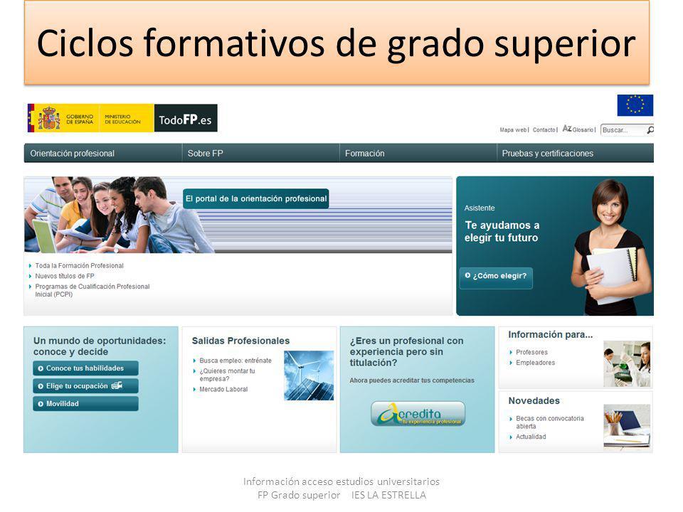Ciclos formativos de grado superior Información acceso estudios universitarios FP Grado superior IES LA ESTRELLA