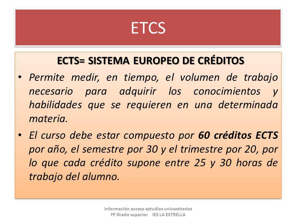 ETCS ECTS= SISTEMA EUROPEO DE CRÉDITOS Permite medir, en tiempo, el volumen de trabajo necesario para adquirir los conocimientos y habilidades que se