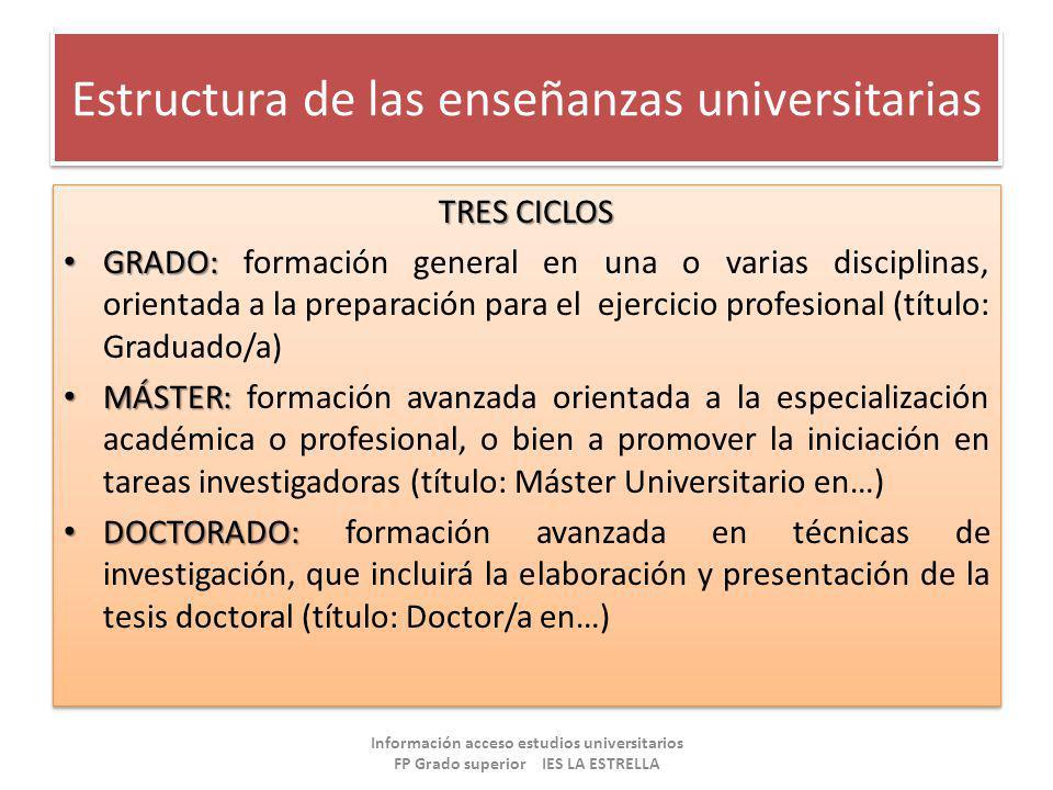 Estructura de las enseñanzas universitarias TRES CICLOS GRADO: GRADO: formación general en una o varias disciplinas, orientada a la preparación para e
