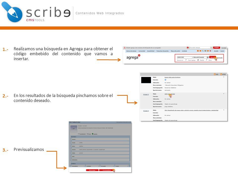 Realizamos una búsqueda en Agrega para obtener el código embebido del contenido que vamos a insertar. En los resultados de la búsqueda pinchamos sobre