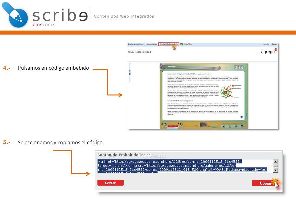 Pulsamos en código embebido Seleccionamos y copiamos el código 4.- 5.-