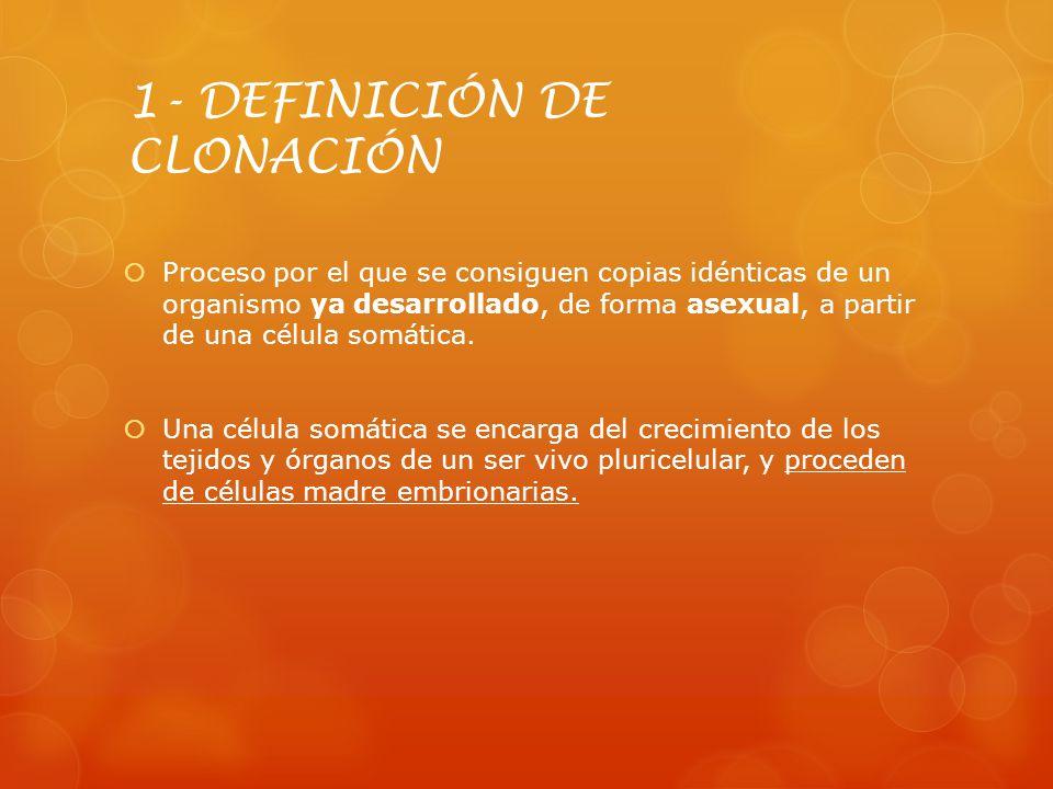 1- DEFINICIÓN DE CLONACIÓN Proceso por el que se consiguen copias idénticas de un organismo ya desarrollado, de forma asexual, a partir de una célula