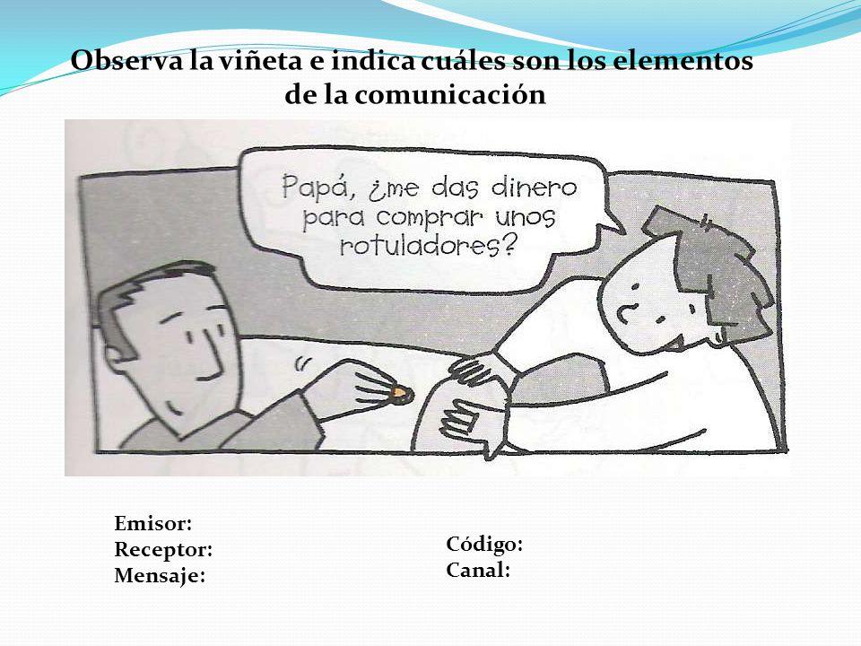 Observa la viñeta e indica cuáles son los elementos de la comunicación Emisor: Receptor: Mensaje: Código: Canal: