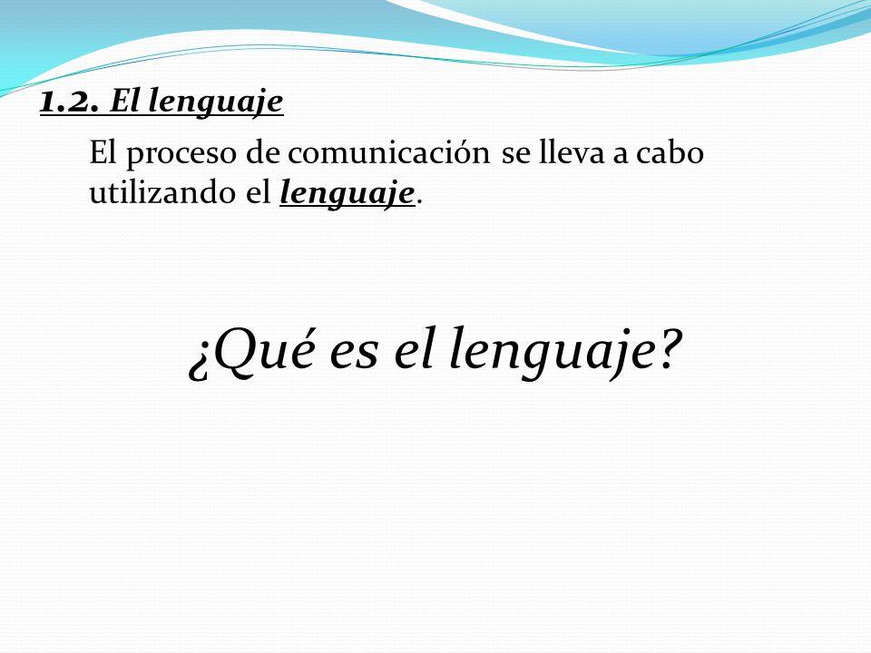 1.2. El lenguaje El proceso de comunicación se lleva a cabo utilizando el lenguaje. ¿Qué es el lenguaje?