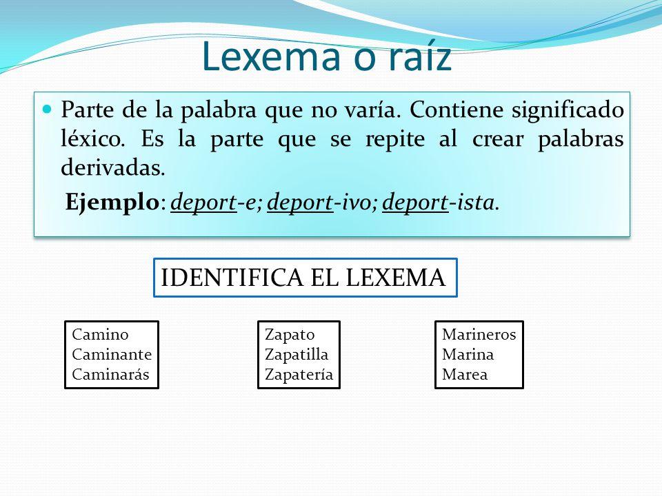 Lexema o raíz Parte de la palabra que no varía. Contiene significado léxico. Es la parte que se repite al crear palabras derivadas. Ejemplo: deport-e;