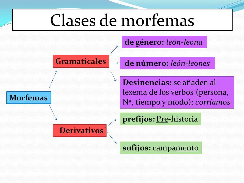 Clases de morfemas Morfemas Gramaticales Derivativos de género: león-leona de número: león-leones Desinencias: se añaden al lexema de los verbos (pers