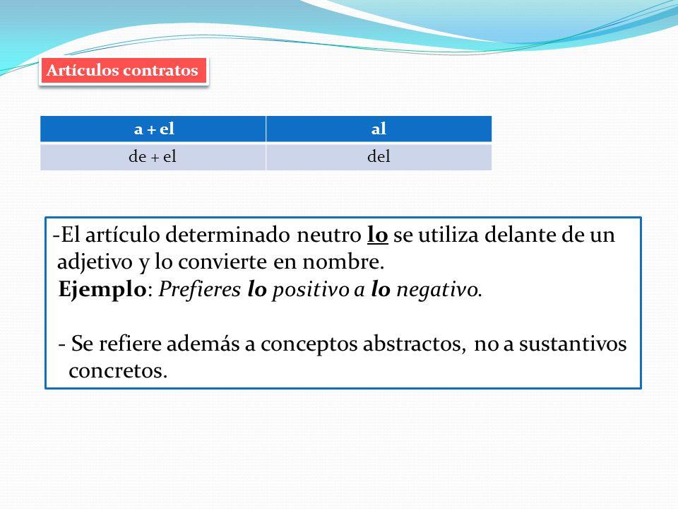 Artículos contratos a + elal de + eldel -El artículo determinado neutro lo se utiliza delante de un adjetivo y lo convierte en nombre. Ejemplo: Prefie